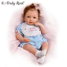 Katie Kisses Touch-Activated Interactive Baby Doll: Talks, Cries & More by Ashton Drake Life Like Baby Dolls, Life Like Babies, Real Baby Dolls, Realistic Baby Dolls, Baby Girl Dolls, Ashton Drake, Marie Osmond, Interactive Baby Dolls, Wiedergeborene Babys