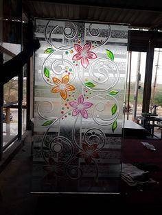 Glass Etching Designs, Glass Painting Designs, Stained Glass Designs, Stained Glass Art, Paint Designs, House Main Door Design, Window Glass Design, Ganesha Tattoo, Partition Design
