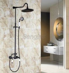 "Wall Mount Black Oil Brass 8"" Bathroom Rain Shower Faucet Set Mixer Taps 8rs776"