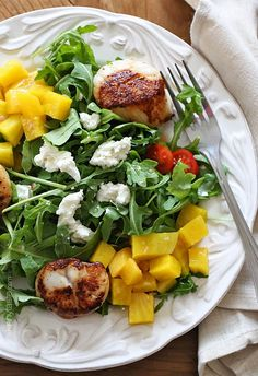 Sea Scallops Arugula and Beet Salad – This salad is restaurant quality! Sweet yellow beets, arugula, goat cheese and sauteed scallops tossed with a honey vinaigrette. Quick and easy!