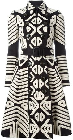 Burberry Prorsum tribal appliqué trench coat