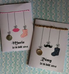 FAIRE PART DE BAPTEME GARCON MOUSTACHE : Cartes par plume-de-fee