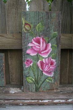 country chic shabby roses decor sign shaby by CottageDesignStudio 30.00 + shipping, barn wood, shabby roses décor, sign,