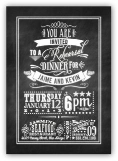 Chalkboard Art  Rehearsal Dinner Invite 5x7 by JamesPaigeDesign, $23.00