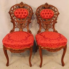 Rococo laminated side chairs, rosewood