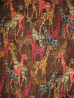 Tribal Council fabric  Giraffes  aqua purple blue by fabricfrantic, $9.75