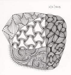 #31 Weekend Zentangle - trying out Y-ful Power.