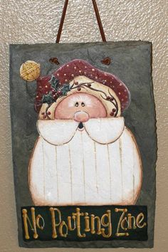 Handpainted Santa Slate  Beautiful Christmas by Darlene937 on Etsy, $15.00