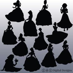 This listing is for an INSTANT DOWNLOAD for 12 Disney Princess Silhouettes, as shown in the images above.