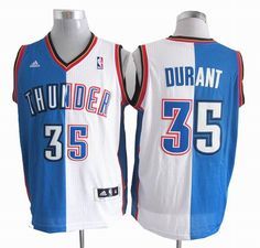 Oklahoma City 35# Thunder Kevin Durant blue white Split Jersey 24.5$