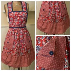 Pretty red and blue floral women's full-size apron $40 @ etsy.com/shop/momandmestitch