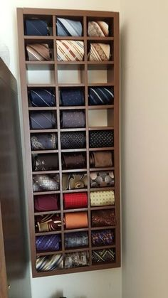 Wall Mount Rolled Neck Tie Display: 4 Steps (with Pictures) Tie Storage, Storage Rack, Closet Storage, Master Closet, Closet Bedroom, Wardrobe Room, Mens Closet Organization, Tie Box, Make A Tie