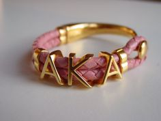 Items similar to Alpha Kappa Alpha Greek Pink Braided Leather Bracelet Ladies Greece Alphabet Letters initials Button Clasp Gold Tone on Etsy Aka Sorority Gifts, Alpha Kappa Alpha Sorority, Sorority And Fraternity, Leather Jewelry, Leather Bracelets, Charm Bracelets, Alpha Kappa Alpha Paraphernalia, Steampunk Necklace, Pretty In Pink