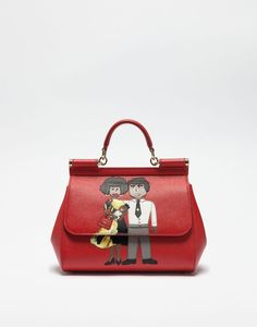 Dolce & gabbana medium sicily handbag in dauphine leather with dg family patch, borse a mano women | dg online store, d&g