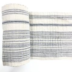 VINTAGE Hand Woven HEMP Organic HMONG Ethnic A Piece Of Tribal Textile Striped Indigo & White Cream  W07