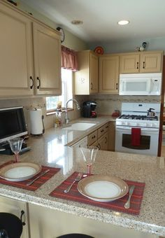 Beige Linen Colored Kitchen Cabinets With Slightly Darker