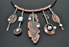 Copper, silver and pearls necklace use brass tube for spacers.sea glass