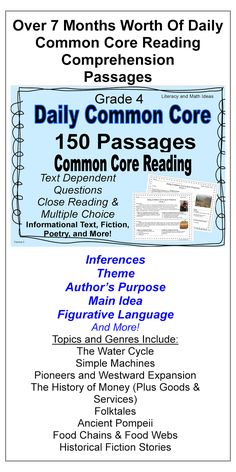 Over Seven Months Worth of Daily Common Core Reading Comprehension Practice--24 Hours are Left to Save 50% Off The Price--Close Reading, and Multiple Choice Questions are Both Included--Inferences, Main Idea, Author's Purpose, Theme and More Reading Comprehension Skills are Covered.  EVERY Common Core Literature and Informational Text Standard is Included.  Many Standards Repeat Across The Weeks to Provide Steady, Common Core Review$