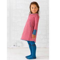 Lækker sweat kjole AlbaBaby - Doris dress, rose med blå detaljer