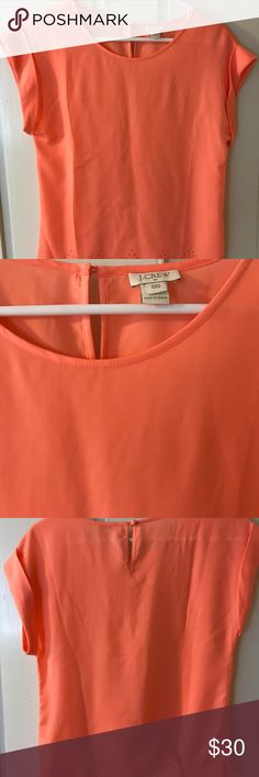 Jcrew Factory coral scalloped hem top Jcrew Factory coral top with laser cut scalloped hem. Silky material. Worn just once! J. Crew Tops Blouses