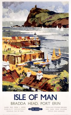 Vintage Travel Poster - UK - Isle of Man - Bradda Head Port Erin - Railway Posters Uk, Railway Posters, Poster Prints, Train Posters, Isle Of Man, Manx, British Travel, National Railway Museum, Vintage Travel Posters