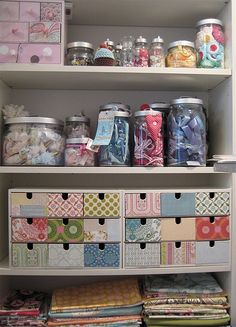 Covering little storage drawers/crates with different but complementary decorative paper