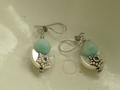 Amazonite, blue topaz and 925 silver earrings