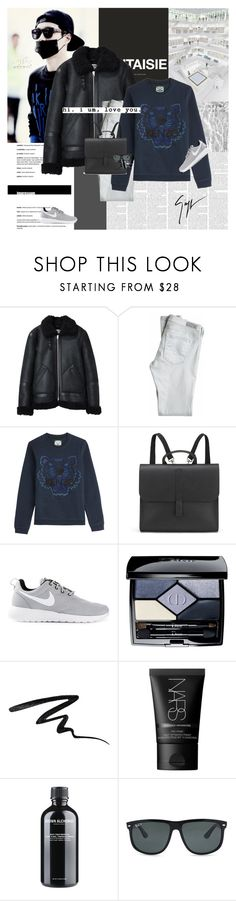 """""""You're my ideal type."""" by e-laysian ❤ liked on Polyvore featuring Acne Studios, AG Adriano Goldschmied, Kenzo, Danielle Foster, NIKE, Christian Dior, Stila, NARS Cosmetics, Grown Alchemist and Ray-Ban"""