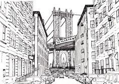New York Dessin feutre noir fin d'après photo. © 2015 Marielle Marenati Ne pas copier, ni utiliser sans mon accord.