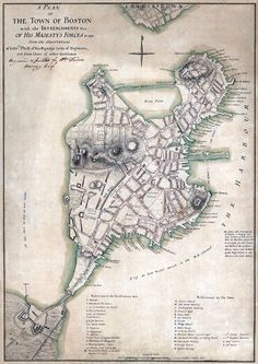 1777 map of Boston by the English - useful while teaching JOHNNY TREMAIN by Esther Forbes.  Free setting activity template and some fun, unique teaching materials at at https://litwits.com/johnny-tremain/