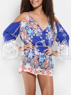 Blue Spaghetti Strap Floral Print With Lace Playsuit 14.99