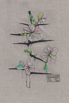 Blackthorn; embroidered rendition of a Charles Rennie Mackintosh