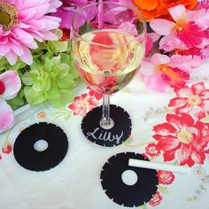 Write Drink Tags chalk cloth writeon wine tags set by LilBDesigns. $7.00, via Etsy.