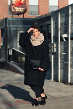 acne coat / assembly ny sweater / yohji yamamoto pants / balenciaga shoes / céline clutch