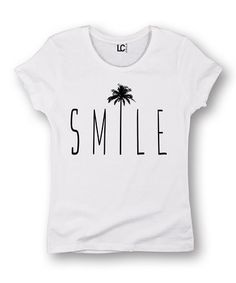 Another great find on #zulily! White 'Smile' Palm Tree Fitted Tee #zulilyfinds
