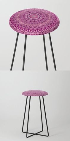 Pink Flower Mandala Counter Stool by David Zydd #BestCounterStools #MandalaCounterStool #Abstract #Mandala #SacredGeometry #FurnitureDesign #Yoga #FloralDesign (tags: chair, apartment, kitchen, abstract, gift, room, mandalas, counter, dining room, flowers, flora, decoration, decor, mandala design, floral, interior, energy, chakra, floral art, designer)