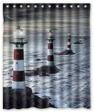 Sailing away in relaxing shower with these lighthouses to guide your way!! Please see sizes for availability.  Machine wash cold. Do not bleach or tumble dry
