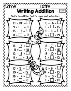 Understanding the relationship between addition and subtraction and its representation is crucial to understanding operations and algebraic reasoning. All students need lots of practice with this skill in order to competently use it going forward. First Grade Phonics, 1st Grade Math, Math Addition, Addition And Subtraction, Addition Facts, Teaching Aids, Teaching Math, Algebra, Mega Math