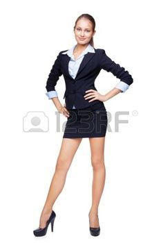 Full length portrait of a beautiful business woman isolated on white background photo