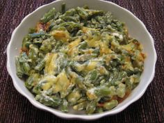 Green beans with smoked Gouda