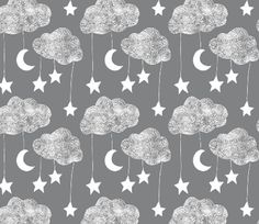 Sailing Dreams Clouds in Charcoal grey By Emily Sanford - Cloud Cotton Fabric By The Yard With Spoonflower