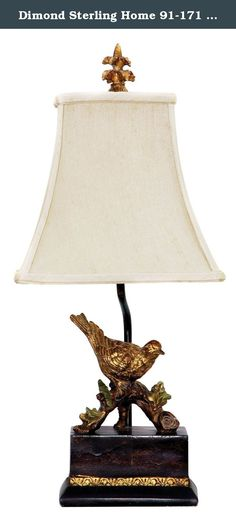 Dimond Sterling Home 91-171 Perching Robin Table Lamp. Includes one 9.5 watt medium base LED bulb. Lumens: 800. Traditional style. On Socket switch type. Base in black and gold leaf. Shade in light gold. Made from composite and shantung. Shade: 9 in. Dia. x 12 in. H. Overall: 9 in. Dia. x 34 in. H (6 lbs.).