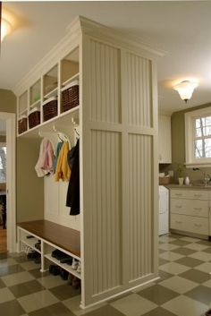 mudroom layout with laundry behind.