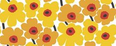 Pieni Unikko Yellow (17900) - Marimekko Wallpapers - The classic Marimekko fabric design, created in a smaller scale wallpaper repeat – simply stunning.  Shown here in the sunshine yellow and red colourway. Paste the wall. Please request sample for true colour match.