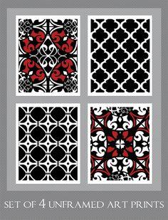 Black White Red Art Black White Wall Art Set of 4  by inkandnectar