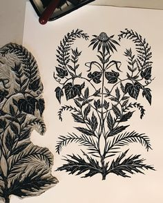 Botanical Illustration, Illustration Art, Botanical Art, Linocut Prints, Art Prints, Woodcut Tattoo, Linoprint, Diy Canvas Art, Leaf Art