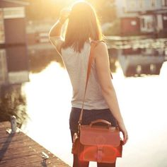 Tan leather camera bag by Grafea