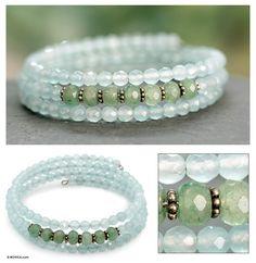 Fair Trade Beaded Chalcedony and Aventurine Bracelet - Good Luck | NOVICA