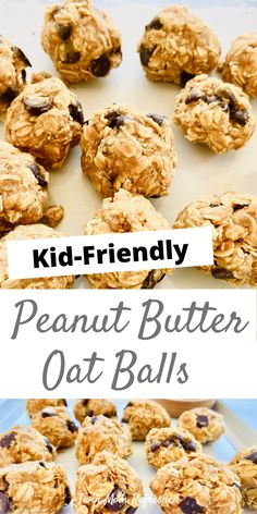 Peanut Butter Oatmeal Balls Recipe - These peanut butter balls are easy to make and a quick and healthy snack idea for kids. Oatmeal Ball Recipe, Easy Snacks For Kids, Easy Baking For Kids, Quick Recipes For Kids, Easy Recipes For Breakfast, Cooking For Kids, Easy Kids Meals, Healthy Recipes For Kids, Healthy Snack Recipes