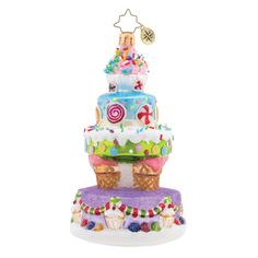 Deliciously Delightful Cake Ornament by Christopher Radko Ornament size: Release Date: 2019 Christopher Radko ornaments have long been renowned as some of the finest handcrafted glass Christmas ornaments available. Classic Christmas Decorations, Christopher Radko Ornaments, Wood Wick Candles, Cake Online, Glass Christmas Ornaments, Pink Christmas, Christmas Tree, Personalized Ornaments, All Holidays